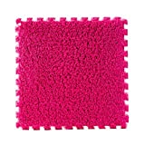 PANDA SUPERSTORE 10 Pcs Mosaic Mats Maison En Peluche Chambre Pour Enfants Paillassons Table Basse Tapis Rose Rouge