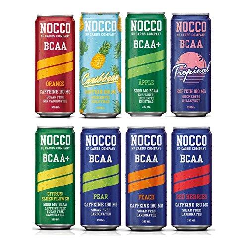 NOCCO (No Carbs Company) gemischter Fall (24x 330ml Dosen) ALLE GESCHMÄCKE (Gemischten Lebensmittel Aromen)