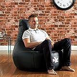 Gaming Chairs Best Deals - La Chaise de Jeux i-eX®- Faux Cuir- Une Chaise Pouf Poire de Jeux 'Taille Homme'- Idéal pour ceux qui jouent aux jeux de vidéos (Acier/Noir)