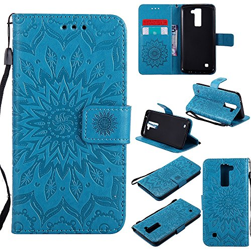 Für LG K8 Fall, Prägen Sonnenblume Magnetic Pattern Premium Soft PU Leder Brieftasche Stand Case Cover mit Lanyard & Halter & Card Slots ( Color : Gray ) Blue
