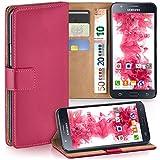 moex Samsung Galaxy J5 (2015)   Hülle Pink mit Karten-Fach 360° Book Klapp-Hülle Handytasche Kunst-Leder Handyhülle für Samsung Galaxy J5 2015 Case Flip Cover Schutzhülle Tasche