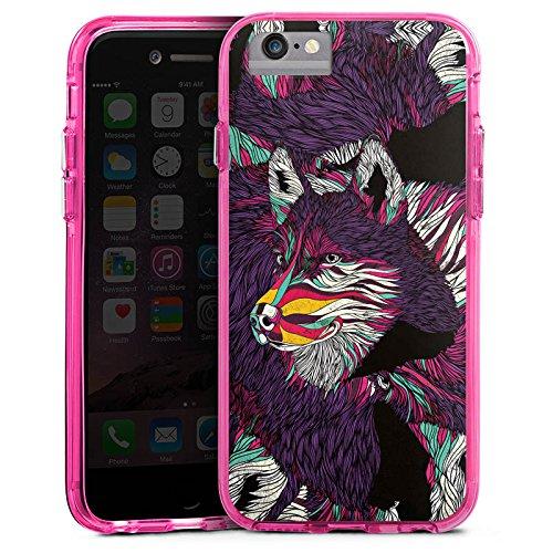 Apple iPhone X Bumper Hülle Bumper Case Glitzer Hülle Wolf Husky Dog Bumper Case transparent pink