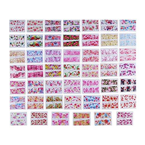 Domybestshop Pegatinas Arte Uñas Patrón Flores Colores