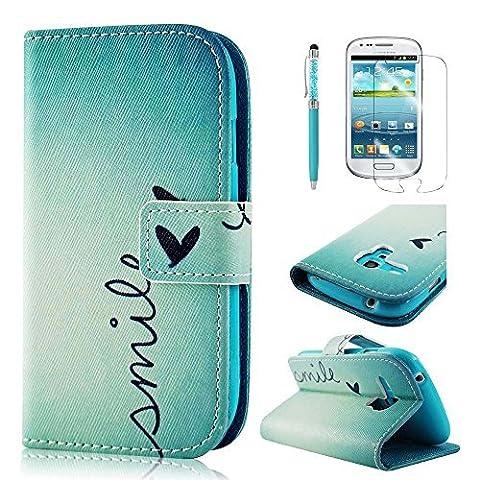 BestCool PU Leder Klapptasche für Samsung Galaxy S3 Mini i8190