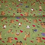 Muster Jersey Baumwolljersey mit Waldtieren Igel Bär Wald