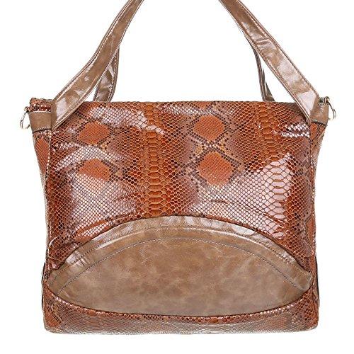 Damen Handtasche Schlangen Style Shopper Schultertasche designer Tasche Orange Braun