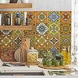 72 (Piezas) Adhesivo para Azulejos 10x10 cm - PS00066 - Té en el Desierto - Adhesivo Decorativo para Azulejos para baño y Cocina - Stickers Azulejos - Collage de Azulejos