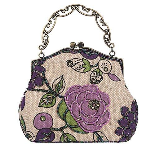 Frauen Vintage Luxus Perlen Clutche Handtasche Abendtasche Dinner Party Geldbörse. 23 X 22.5Cm . Purple . One Size