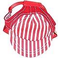 SZTARA Adjuatable Pet Stripe Hat with Ear Holes Sun Protection Baseball Cap for Medium Large Dog