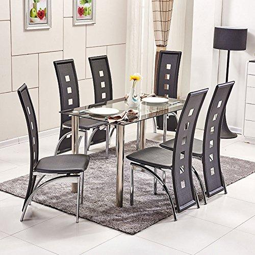 Ospi 6x nero alta della sedia da pranzo in similpelle con gambe in metallo rettangolare in vetro temperato tavolo da pranzo sala da pranzo mobili set