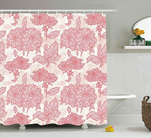 BUZRL Flowers Decor Shower Curtain, Gardening Plants Theme Dahlias Flowers and Leaves Illustration Romantic Design, Fabric Bathroom Decor Set with Hooks, 66x72 inches Extra Long, Pink