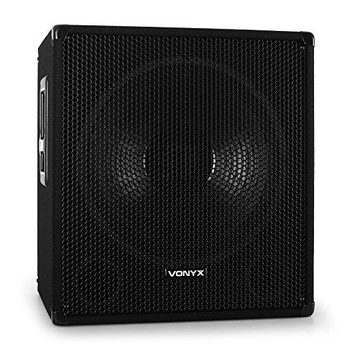 Vonyx DJ PA 38cm Aktiv Subwoofer Box 600W mit Stativ Flansch