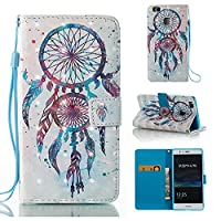HUAWEI P9 Lite Case, Iddi-Case Fashion Cute Pattern Luxury Pu Leather Wallet Magnetic Design Flip Folio Protective Case Cover with Card Holder - Blue Dreamcatcher