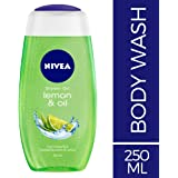 NIVEA Lemon & Oil Shower Gel, 250ml With Care Oil Pearls And Revitalizing Scent Of Lemon