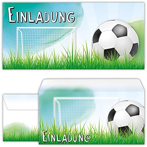 Set: 12 große Fussball Einladungskarten mit 12 Umschlägen zum Kindergeburtstag oder zur Fußball-Party | Kinder Geburtstag-Einladungen Karten Feier Jungen