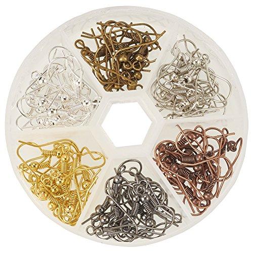 PandaHall Elite 120 Stück Nickfrei Eisen Ohrringe Haken Ohrhaken Ohrhänger 6 Farbe mit Aufbewahrungsbox