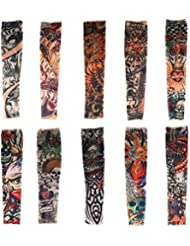 HaimoBurg 10 Pcs Ensemble de Manchette Temporaire Faux Tatouages Tattoo Manches Bras Glissement Unisexe Couleur Aléatoire