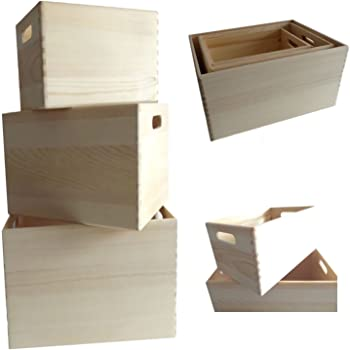 ls lebenstil 3x holz allzweckkiste aufbewahrungsbox stapelbox braun stapelkiste holzbox. Black Bedroom Furniture Sets. Home Design Ideas