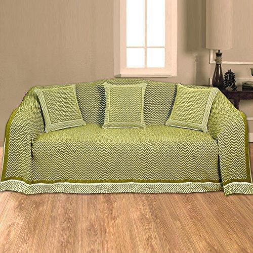 K Living Flamestitch Chenille Ocre chevrons Naturel 228 x 254 cm Jeté de canapé-lit