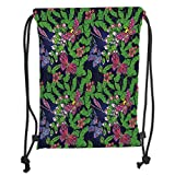 Icndpshorts Drawstring Backpacks Bags,Flower,Tropical Vivid Petal Leaf Butterfly Dragonfly Forest Artwork Decorative,Navy Blue Fern Green Pink Purple Soft Satin,5 Liter Capacity,Adjustable STR