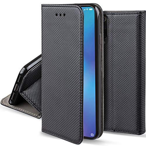 Moozy Case Flip Cover for Xiaomi Mi 9 SE, Black - Smart Magnetic Flip Case with Folding Stand