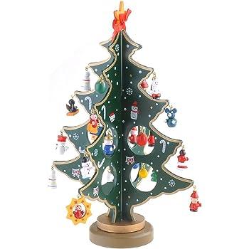 Jingxu Weihnachtsbaum Holz Künstlicher Weihnachtsbaum Mit Schmuck  Abnehmbare DIY Weihnachtsdeko Tannenbaum Christbaum,Weihnachtsgeschenk(grün)