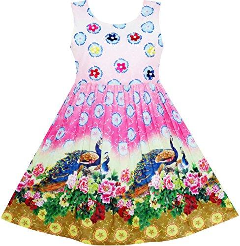 sisch Pfau Pfingstrose Blume Kreis Muster Gr.134 (Pfingstrose Kleid)