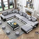 Best furniture Living and Dining Hall Nylon U Shape Sofa Set 3+2+2, Corner, 4 Pease Puffy, Dewan, Standard Size- Silver