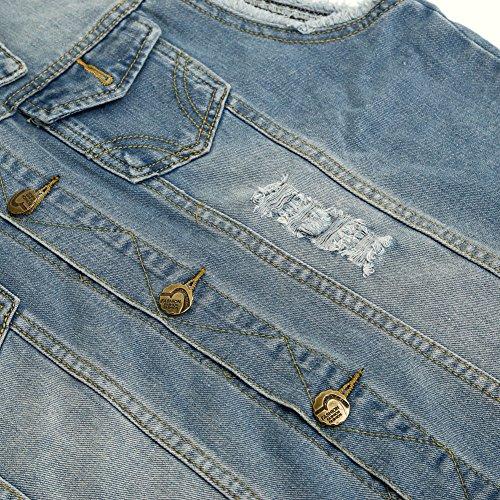 Zicac Herren Weste Slim Fit Beiläufige Cowboy Weste im Modern Design Jeansweste Hellblau