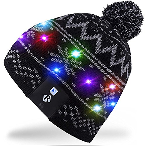 Rotibox LED String Light Up Beanie cappello a maglia con fili di rame Luci colorate 15 LED per i bambini Indoor e Outdoor Festival Festività Festività Feste Regali di Natale - Nero