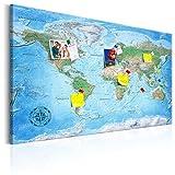 murando - deutsche Weltkarte Pinnwand & Vlies Leinwandbild 120x80 cm 1 Teilig Kunstdruck modern Wandbilder XXL Wanddekoration Design Wand Bild - Landkarte Lernkarte k-A-0154-v-a