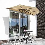 Sekey 2.7m halb-runder Sonnenschirm/Marktschirm/Terrassen-Schirm mit Kurbel für Garten, Terrassen, Höfe, Schwimmbäder, mit 5 Stahlverstrebungen, 100% Polyester Schirm,...