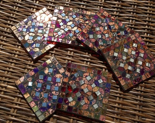 Coasters - Mosaic Coasters, Set of 6 - Red (GM59)