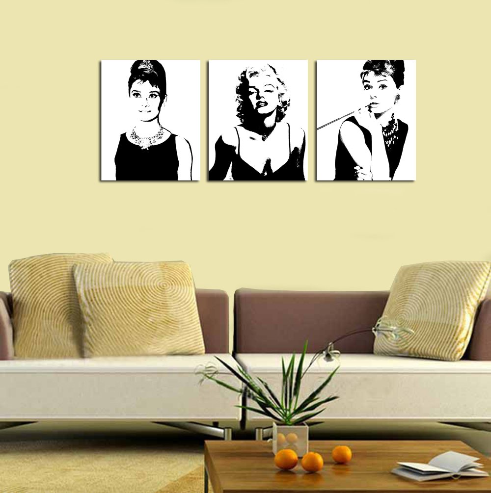 framed marilyn monroe and audrey hepburn picture print on canvas framed marilyn monroe and audrey hepburn picture print on canvas modern home and office decoration wall painting art 3 pieces each 40 50cm amazon co uk