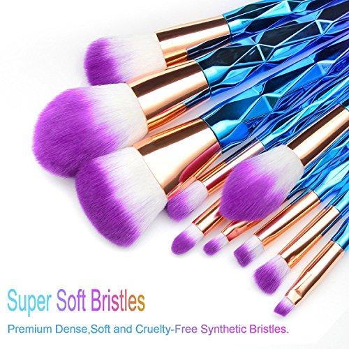 Unicorn Makeup Brushes, MissSpicy Cosmetics Rainbow Eyeshadow Eyeliner Blush Concealer Contour Powder Foundation Fan Makeup Brushes Set with Beauty Blender (12pcs)