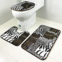 ChezMax romantico Torre Eiffel Pattern 3pezzi bagno antiscivolo tappetino WC
