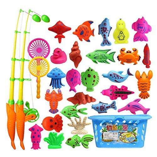 TOOGOO 32 Stueck magnetisches Spielzeug von Angeln Rod Modell Oceanic Net Fisch Baby Bad Zeit Wasser Spass interaktives Spielzeug (Hai-angeln-haken)