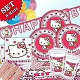 HELLO KITTY Herz-Deko für Kindergeburtstag Mädchen oder Mottoparty Katzen, 50-teiliges Set, für 8 Personen