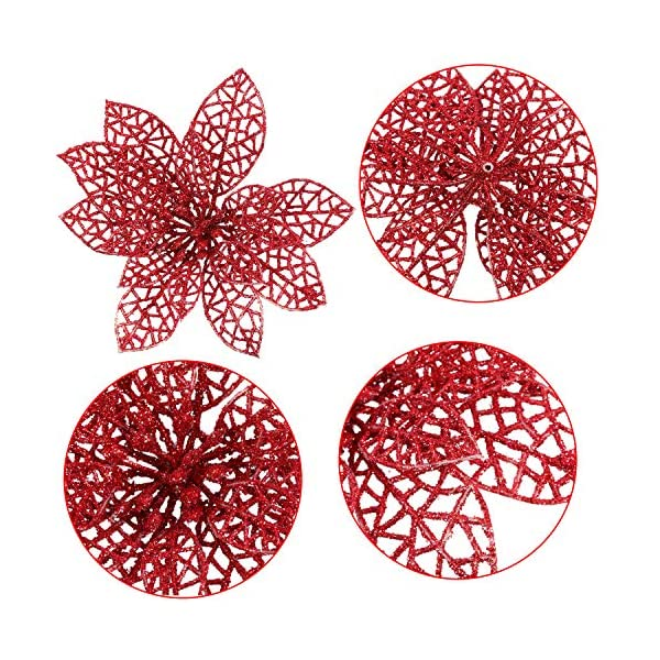 SATINIOR 20 Pieces Glitter Christmas Tree Ornaments Artificial Wedding Christmas Poinsettia Flowers for Festival…