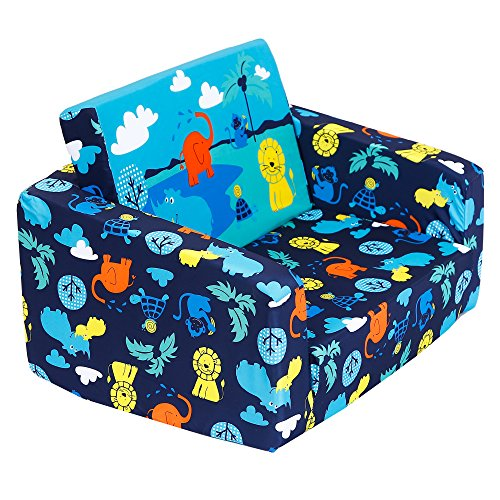 MallBoo Kids Sofas Children's Sofa Bed Baby's Upholstered Couch Sleepover Chair Flipout Open Recliner (Blue-Jungle)