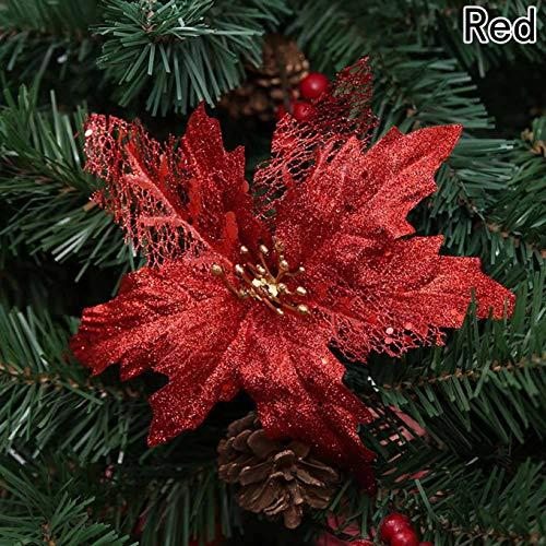 Brodwell spezielle Dekorationen Praktische Weihnachten Perfekte Künstliche Dekoration Leuchtender Baum 3pcs Hollow Blumen Dekoration Weihnachtsfeier Niedliche(None F11-2-1 Christmas Flower-Red)