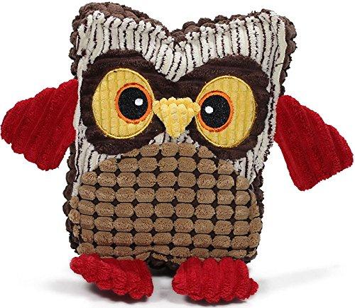 hundeinfo24.de Knuffelwuff 12996 Hundespielzeug Angry Owl aus Cord und Plüsch mit Quietscher und Knisterflügel, 25 cm