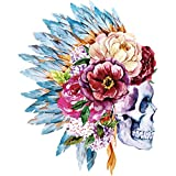 Yasheep Iron On Patch Flower Skull Motor Rider Pattern Patch Sew On/Heat Transfer Sticker Applique For Clothes Dress Plant Hat Jeans T-Shirt Sewing DIY Accessory
