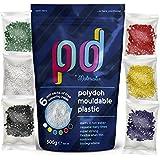 Polydoh plástico moldeable + 6 libre paquetes de colorear gránulos, plástico, 500g (también conocido como polimorph, plastimake o instamorph)