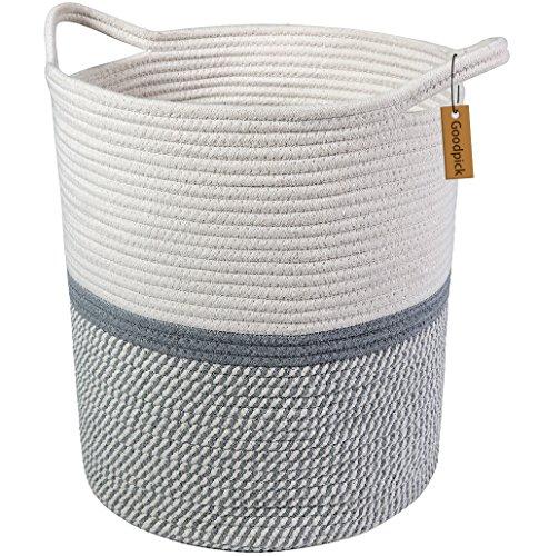"""goodpick Große Baumwolle Seil basket17.7x 39\"""" x13.7-baby Wäschekorb gewebte Decke Korb Kinderzimmer Mülleimer"""