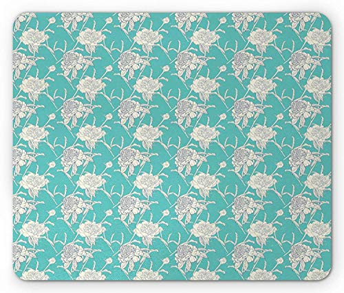 Flower Mouse Pad, Classic Shabby Soft Peony and Pansy Blooms Feminine Essence Beauty Leaf Motif, Standard Size Rectangle Non-Slip Rubber Mousepad, Turquoise Ivory 9.8 X 11.8 inch