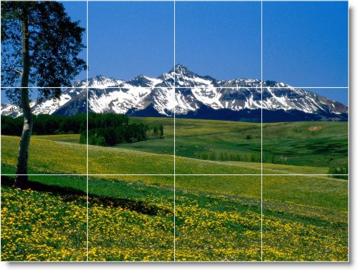 MONTAñA FOTO MURAL AZULEJOS MURAL M055  18X 24CM CON (12) 6X 6AZULEJOS DE CERAMICA