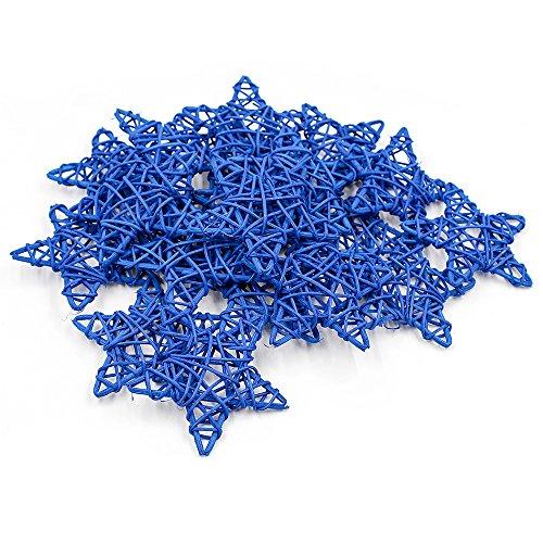 Ya Jin 20Mehrfarbig Rattan Sterne, Hochzeit, Festival Weihnachten Party Dekoration zum Aufhängen, 6cm, Rattan, königsblau, 9cm/3.5inch