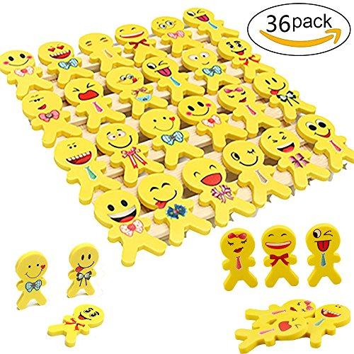 YueChen 36 x Emoji emoticon lápiz gomas borrar lindos, regalo de regalo para la fiesta de cumpleaños fiesta de los niños recompensa escolar fiesta en el jardín (los colores son aleatorios)