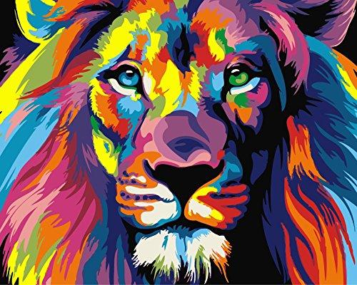 YEESAM ART Neuerscheinungen Malen nach Zahlen für Erwachsene Kinder - Colorful Farbenreich Löwenkopf Lion Head 16 * 20 Zoll Leinen Segeltuch - DIY ölgemälde ölfarben Weihnachten Geschenke